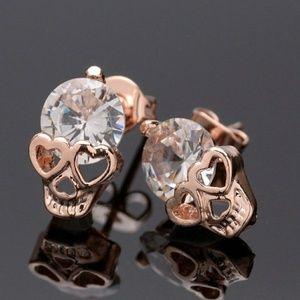Rose Gold Diamond Skull Studs